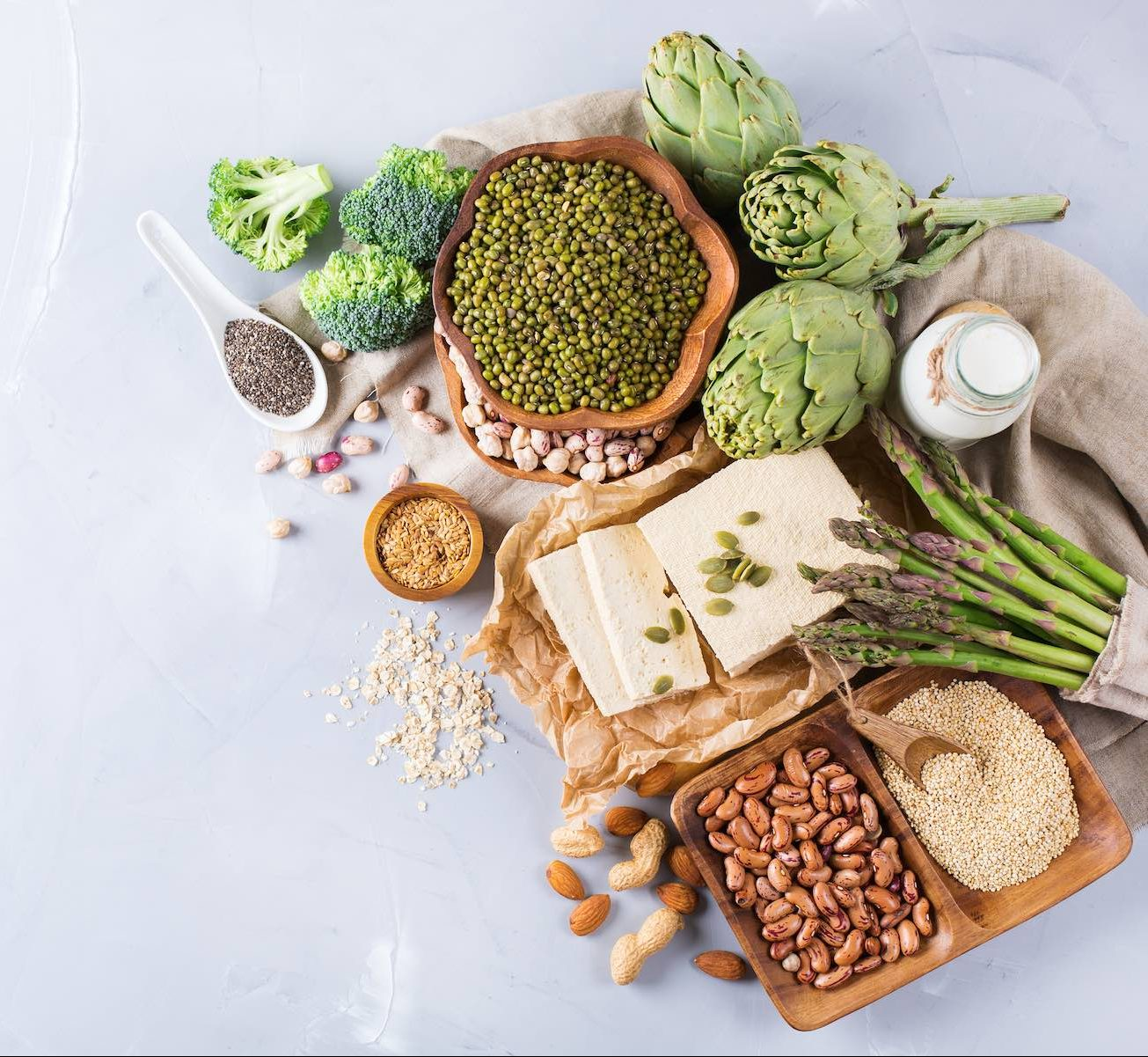 Assortment of healthy vegan protein source and body building food.