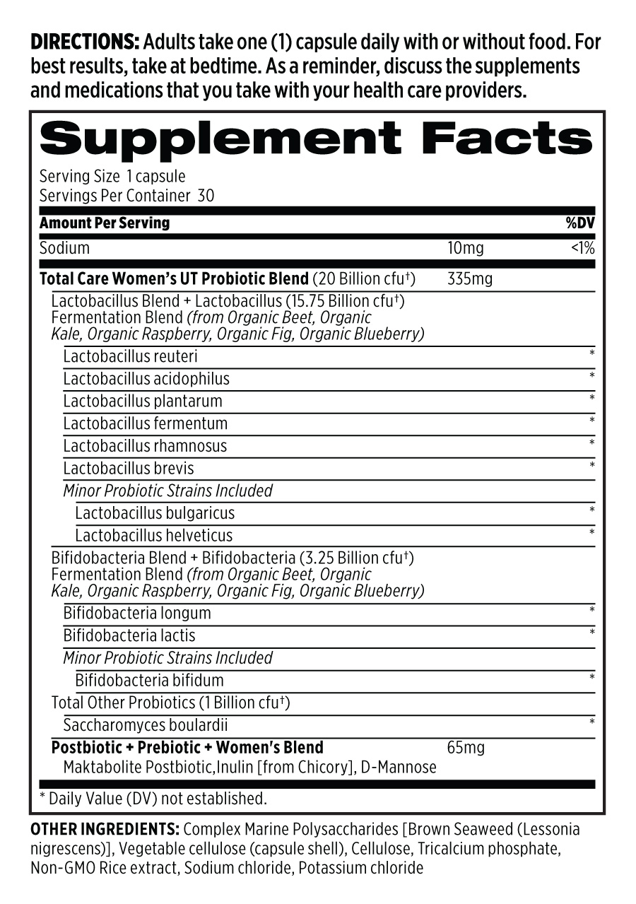 Total Care Women's UT Probiotic Supplement Facts Panel